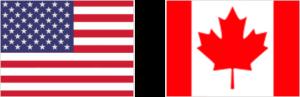 Drapeaux américains et canadiens